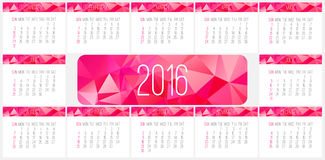 Year 2016 monthly calendar Stock Image