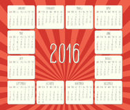 Year 2016 monthly calendar. Year 2016 vector monthly calendar. Week starting from Sunday. Hand drawn text over retro orange sunbeam background stock illustration