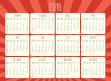 Year 2016 monthly calendar. Year 2016 vector monthly calendar. Week starting from Sunday. Hand drawn text over retro orange sunbeam background Stock Photography