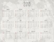 Year 2018 monthly calendar. Year 2018 vector monthly hand drawn calendar over watercolor light grey background. Week starting from Sunday Royalty Free Stock Photos