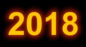 Year 2018 neon light full numbers isolated on black. 3d rendering Royalty Free Stock Photo