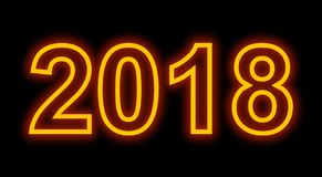 Year 2018 neon light outlined numbers isolated on black Stock Photo