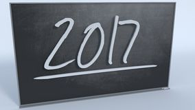 Year 2017. New Year 2017 on black chalkboard vector illustration