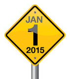 Year 2015. 2015 new year road sign stock illustration