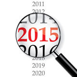 Year 2015. 2015 New Year sign under magnifier vector illustration
