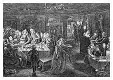 Year 1615, night dinner and entertainment, vintage engraving Royalty Free Stock Image