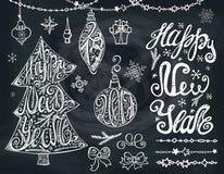 Year2017 novo Árvore de Natal, bals Rotulação, decoração quadro ilustração do vetor