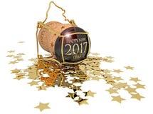 Year& novo x27; cortiça do champanhe de s e estrelas douradas Fotografia de Stock