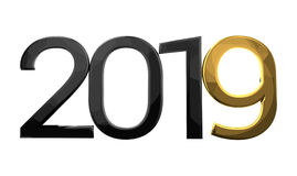 2019 year number black and golden 3d render. Illustration graphic Stock Images