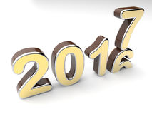 Year number change 2016 to 2017. 3D render illustration of the year number change from 2016 to 2017. The image can be used for new years concepts and the Stock Photography