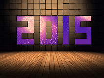 Year number 2015. On cubes wall with wood floor stock illustration