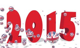 2015 year number. 3d 2015 year number and spheres textured by great britain flag royalty free illustration