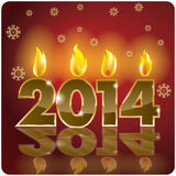 2014 year number. On the dark red background and candle royalty free illustration
