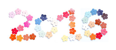 Year 2016, number design with colorful leather flower shaped on Stock Photography