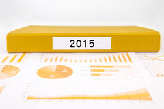Year number 2015, graphs, charts and business annual reports Royalty Free Stock Image