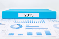 Year number 2015, graphs, charts and financial analysis reports Royalty Free Stock Photo