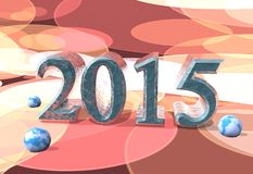 2015 year number. Ice 3d 2015 year number and snowballs textured by world map Royalty Free Stock Photography