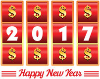 2017 year number illustration of casino machine slot jackpot wit. 2017 annual year . Happy new year. 2017 year number illustration of casino machine slot jackpot Stock Illustration