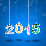 2015 year number with leaves and blue backround .Cut the paper Royalty Free Stock Images