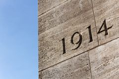 The Year 1914. Number 1914 on monument for the dead of the First World War on the Rathausplatz in Hamburg, Germany in September 2011 Stock Images