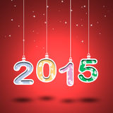 2015 year number with red background .Cut the paper Stock Images
