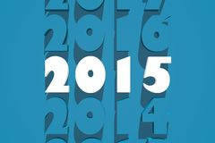 2015 year number. White 2015 number on blue backdrop Stock Photos