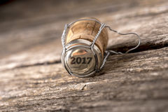 2017 year number on wine bottle cork Royalty Free Stock Photo