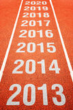 Year numbers on athletics running track Royalty Free Stock Photography