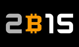 Year 2015, numbers with bitcoin currency symbol Stock Photo