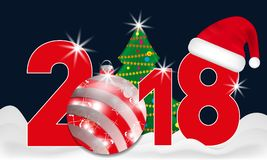 2018 year numbers with Christmas Tree and red ball and Santa hat on a dark blue background. New year and Christmas elements for de Stock Image