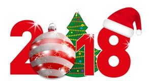 2018 year numbers with Christmas Tree and red ball and Santa hat on a white background. New year and Christmas elements for design Royalty Free Stock Images