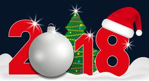 2018 year numbers with Christmas Tree and silver ball and Santa hat on a dark blue background. New year and Christmas elements for Stock Images