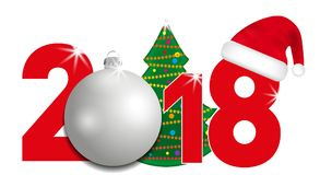 2018 year numbers with Christmas Tree and silver ball and Santa hat on a white background. New year and Christmas elements for des Stock Photo