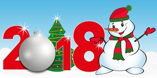 2018 year numbers with Christmas Tree and silver ball and snowman on a blue background. New year and Christmas elements for design Royalty Free Stock Photo