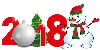 2018 year numbers with Christmas Tree and silver ball and Snowman on a white background. New year and Christmas elements for desig Stock Photos