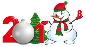 2018 year numbers with Christmas Tree and silver ball and Snowman on a white background. New year and Christmas elements for desig Royalty Free Stock Photography