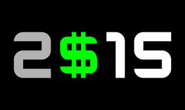 Year 2015, numbers with dollar currency symbol, S with 2 lines. Year 2015 - numbers with dollar currency symbol, S with 2 lines Royalty Free Stock Images