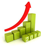 2014 year numbers with growing arrow bar graph Royalty Free Stock Image