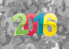 2016 year numbers. Illustration of colorful 2016 text on black and white numbers stock illustration