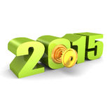 Year 2015 numbers with lock key. new opportunities concept. 3d render illustration Royalty Free Stock Photo