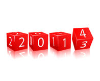2014 year numbers on red cubes. Rotating Brick with 2014 and Old 2013 Year Numbers along Red Edge of Cube . Illustration  on White Background Stock Photography