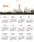 2016 year NY grunge cityscape. 2016 year stylish calendar on New York cityscape grunge background. Sundays first. Vector illustration Stock Photo