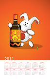 Year Of The White Rabbit. Rabbit And A Bottle Royalty Free Stock Images
