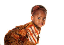 3 year old African American girl curious expression Royalty Free Stock Images