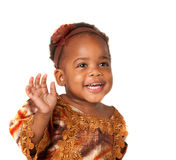 3 year old African American girl curious expression Stock Photo