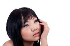 16 years girl 17. 16 year old asian girl with beautiful eyes sitting and thinking about something isolated on white background royalty free stock image