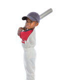 2 year old baby boy standing holding a baseball bat Stock Photo