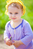1 year old baby girl outdoor Royalty Free Stock Photos