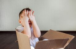 A 4 year old blond boy sits in a cardboard box at home and plays hide and seek, pick a boo. stock photo