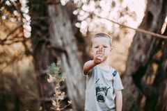 4 Year Old Boy holding up 4 fingers Stock Photo